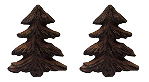 Rustic Pine Tree Metal Drawer Pulls or Bars (Set of Two Knobs) - Mountain Lodge 5 Drawer Chest