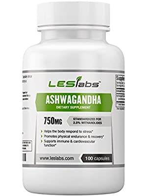 LES Labs Ashwagandha, Natural Supplement for Adrenal Support and Mental & Physical Stress, 2.5% Withanolides, 750mg, 100 Capsules