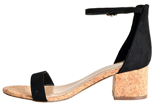 Finish Block Black Heel Ankle Strap Covered Sandals Heel Wood Low Adorable Kitten aaSfnCq