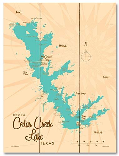 Cedar Creek Lake Texas Vintage-Style Map Wood Art Print by Lakebound (18
