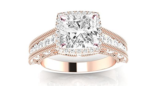 1.49 Carat t.w. 14K Rose Gold Cushion Modified Vintage Halo Style Channel Set Round Brilliant Diamond Engagement Ring Milgrain H/VS1