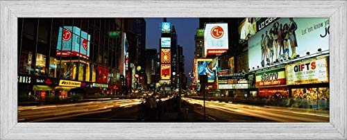 Easy Art Prints Panoramic Images's 'Shopping malls in a City, Times Square, Manhattan, New York City, New York State, USA' Premium Framed Canvas Art - 24