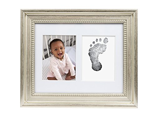 Memento Print Baptism (Lil' Peach Deluxe Handprint and Footprint Picture Frame Kit with Included Ink Pad)