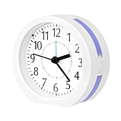 Alarm Clock,Ultra Small Snooze Loud Wake Up Alarm Clocks with Night Light and Music Alarm for Bedroom Office Desk by Kaimao(Blue)