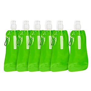 Collapsible Water Bottle - 6-Pack 16 oz Foldable BPA Free Canteen Drinking Bottles with Carabiner for Travel, Green