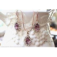 Antique Pink Rose Gold Wedding Jewelry Set Swarovski Crystal Custom Pendant Earrings Bracelet Hair Comb Hair Pins