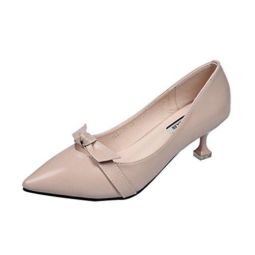 tacón vestir Caqui bajo Mujer elegante zapatos de clásico de Stiletto 14xpFCq
