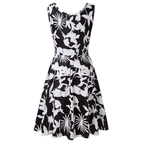Vibola Dress for Women, Summer Sleeveless Floral Printing Beach Dress (S, Black) by Vibola (Image #3)