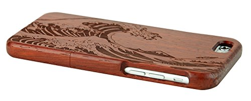 SunSmart Manual Natural Wood Bamboo Caja De Madera para iPhone 6 plus 5.5 (secoya-mar ola) secoya-mar ola