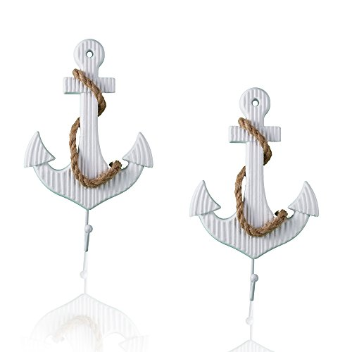 Tumbler Home White Anchor Wall Decorative Hooks with Sisal Rope 10.5'' - Set 2 - Nautical Beach Theme Decor by Tumbler Home