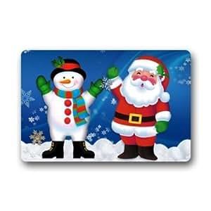 Coolyoyo Custom Funny Unique Cute Cartoon Snowman and Santa? Pattern Non-woven Fabric Multifuntional Doormat Indoor or Outdoor Use Doormat 23.6x15.7 inch
