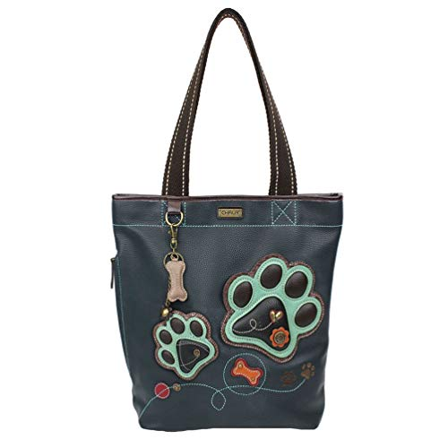 Chala Paw Print Everyday Zip Tote Shoulder Bag - Dog Lover Dog Mom Chala Handbags