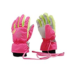 3-8 Years Old Children's Outdoor Gloves Windproof and Waterproof Ski Gloves-Pink