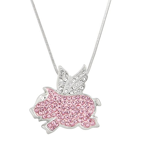 Liavy's Flying Pig Charm Pendant Fashionable Necklace - Sparkling Crystal - 17