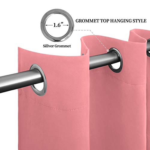 Easy-Going Blackout Curtains for Bedroom, Solid Thermal Insulated Grommet and Noise Reduction Window Drapes, Room Darkening Curtains for Living Room, 2 Panels(52x63 in,Pink)