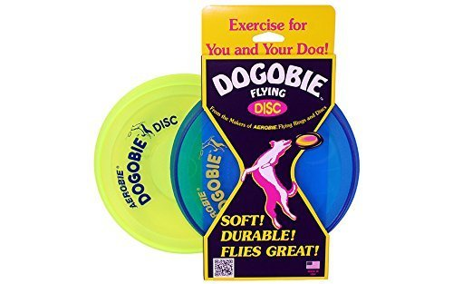 Aerobie Dogobie Discs for Dogs (Pack of 2) (1 Blue Disc, 1 Yellow Disc) by Aerobie