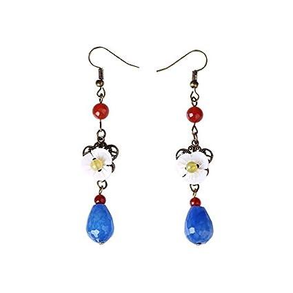 9025f7202d75 WFYJY Costumbres étnicas aretes retro largos aretes de Jade Antique oreja  accesorios Azul