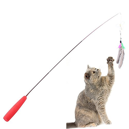 Kitty Teaser (Cat Feather Toy Teaser and Exerciser For Cat Interactive Cat Toys Retractable Cat Wand Teaser Cat Catcher For Exercising Kitten Catnip Or Cat)