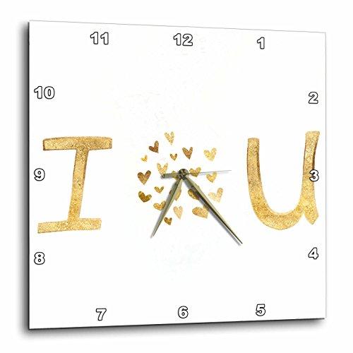 3dRose PS Inspiration - Gold I Love You Hearts - 10x10 Wall Clock (DPP_280746_1)