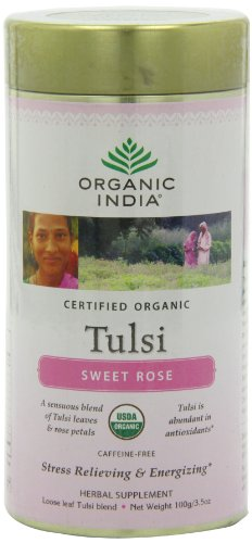 Organic India Tulsi Tea, Loose Leaf, Sweet Rose, 3.5 Ounce by ORGANIC INDIA