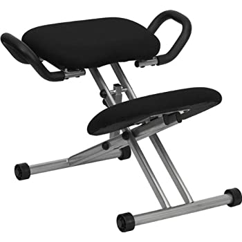 Flash Furniture Ergonomic Kneeling Chair with Handles in Black Fabric