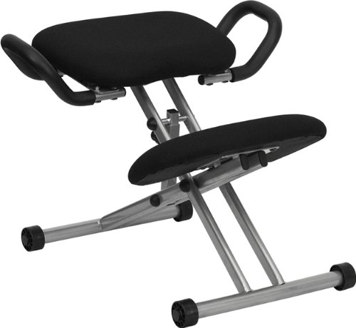 Ergonomic Kneeling Chair with Handles in Black Fabric