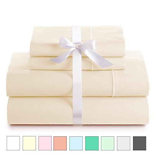 (LINENWALAS 100% Cotton Sateen Sheets – 800 Thread Count Deep Pocket Bed Sheet Set | Silk Like Soft, Breathable & Cooling | Best Sheets Hotel Luxury Bedsheets Clearance Deal (Queen Size, Ivory))