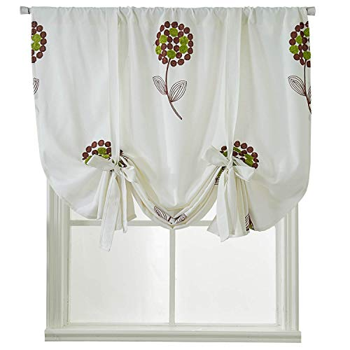 (WUBODTI Room Darkening Shades Blackout,Cotton Linen Embroidery Embroidered Valances for Windows,Tie Up Shades for Small Windows,Window Treatments,46 x 63 Inch Long,1 Panel,Cream White)