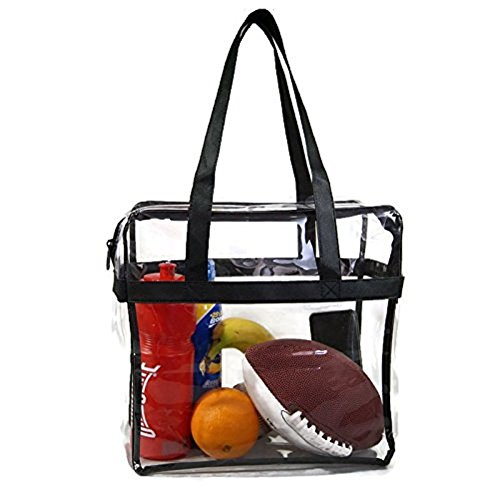 EliteBags Deluxe Clear Tote Bag w/Zipper, NFL Stadium Approved Security Bag, 12x12x6, Clear Vinyl, Shoulder Straps, Heavy Duty (Black) ()