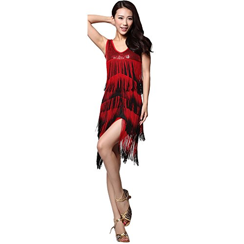 Dance Dual-color Tassels Dress Ballroom Sequins Skirt Competition Wear - black-red (Competition Dance Costume For Sale)