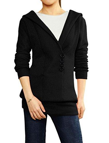 Tunic Black Woman Sweater Buttons Hooded Collar Decor Allegra K Shawl RUqwqva