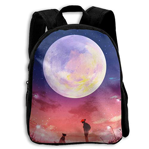 Kids Bookbag Durable Funny Back to School Backpack,Casual Daypack Travel Outdoor backpacks - Young Woman And Dog At Night (Best Nappies To Use At Night)