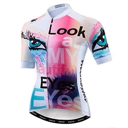 Cycling Jersey Women's Bike Jersey 2019 MTB Bicycle Shirt Team Racing Tops Eye Pink XL (Best Mtb Bikes 2019)