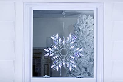 """15"""" Shimmering Pure White/Blue LED Lighted Snowflake Christmas Window Silhouette"""