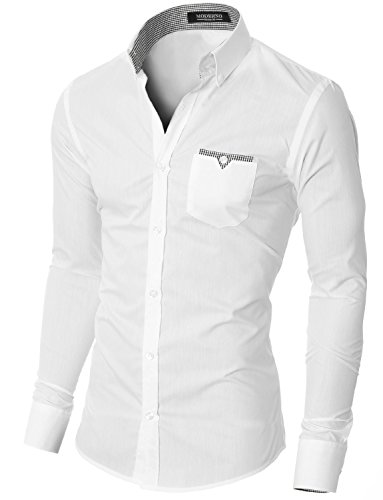 Moderno Mens Button Down Shirts Casual Slim Fit Long