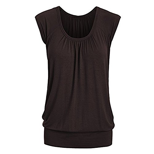 Lovor Women's Summer Short Sleeve Scoop Neck Short Sleeve Solid Sweetheart Top Pleated T Shirts for Women -