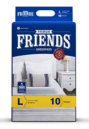 Friends Premium Underpads, Large 60 X 90 cm, Super Absorbent Polymer & Soft Surface, 10s Pack