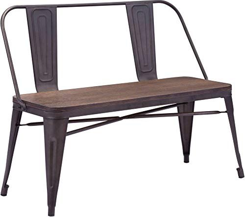 Zuo Modern 108149 Bamboo Wood Seat Elio Double Bench, Rustic Wood