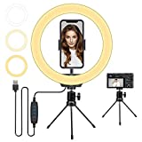 10 inch LED Selfie Ring Light with Tripod Stand & Phone Holder & 3 Light Modes 10 Brightness Level for Live Stream/Makeup/YouTube Video/Online Course Compatible with iPhone Android