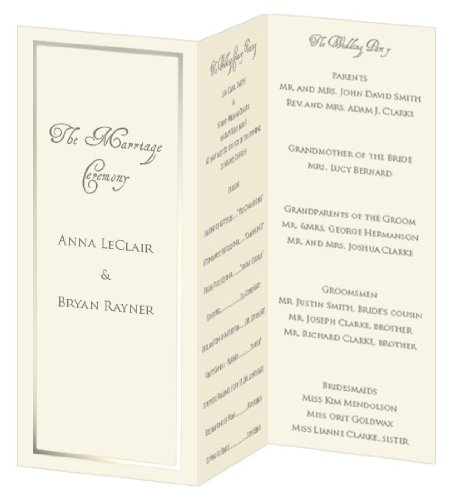 Pearl Foil Invitation, Program, Trifold, Ecru Cardstock, 65lb, 50 Pack