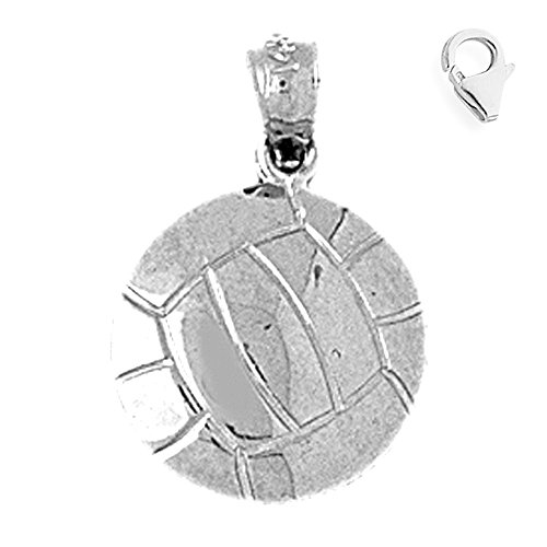 Gold Volleyball Charm 14k (14K White Gold 20mm Volleyball Charm w/ Lobster Clasp)