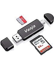 Vanja Lecteur de Carte Mémoire, SD/Micro SD Lecteur de Carte et Micro USB OTG à USB 2.0 Adaptateur avec Standard USB Micro USB Connecteur Masculin pour PC Notebooks et Smartphones avec Fonction OTG
