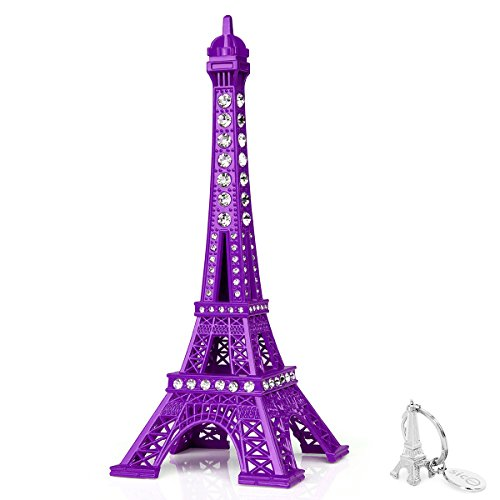 SiCoHome Eiffel Tower Cake Topper 7.0inch Purple with Blings