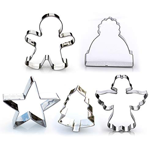 Christmas Cookie Cutter Set, 5 Piece, Stainless Steel
