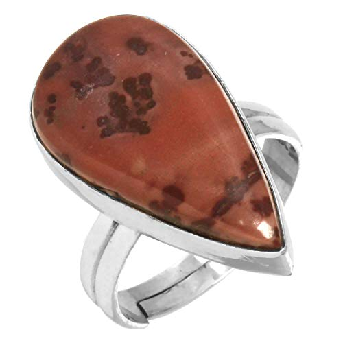 Natural Coffee Bean Jasper Gemstone Adjustable Ring Solid 925 Sterling Silver Fashion Jewelry Size - Silver Jasper Ring Adjustable Sterling