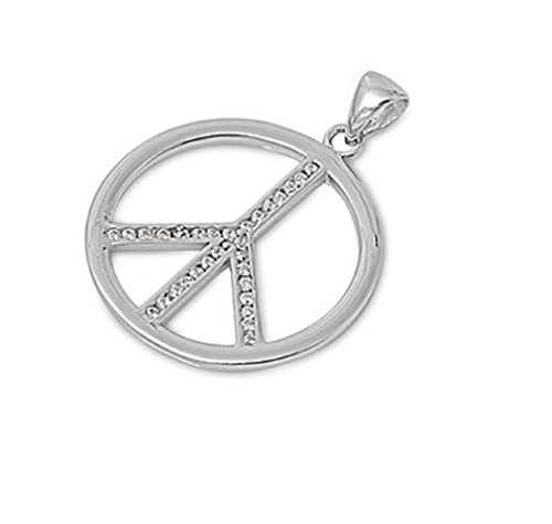 Cubic Zirconia Peace Sign Pendant Sterling (Cubic Zirconia Peace Necklace)