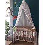 Crib-Bed-Canopy-for-Girls-Bed-with-Pom-Pom-Cotton-Dome-Mosquito-Net-for-Baby-Kids-Indoor-Outdoor-Playing-Reading-Bedroom-Decoration-White