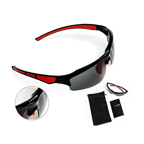 [Gift Idea] L.V.X.ING LVX543 Fashion Polarized Iridium Unbreakable Lightweight Tr90 Frame Sports Men and Women Sunglasses For Fishing Running Cycling Red & - Parts Sunglasses Of Different
