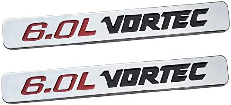 Black Red 2X 6.0L VORTEC Badge Emblems 3D Replacement for 1500 2500hd 3500hd GMC Silverado Sierra Truck