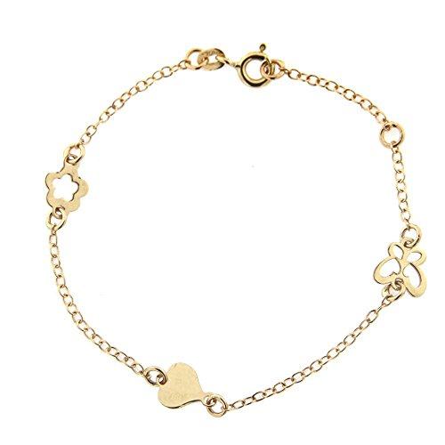 18K Yellow Gold Open Butterfly open Flower and heart Bracelet 6 inches with extra ring at 5.25 inch by Amalia
